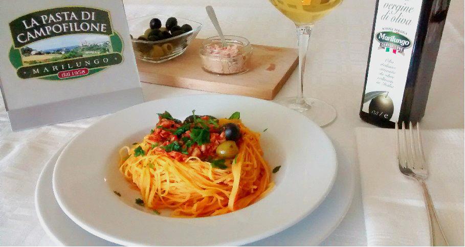 Tagliolini al tonno e olive