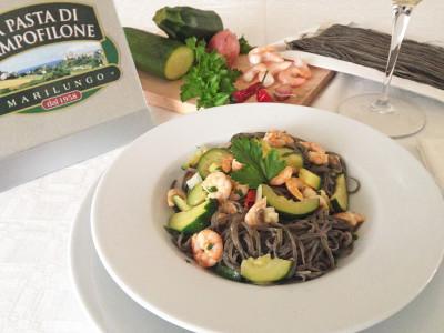 Tagliolini Nero di Seppia con Zucchine e Gamberetti